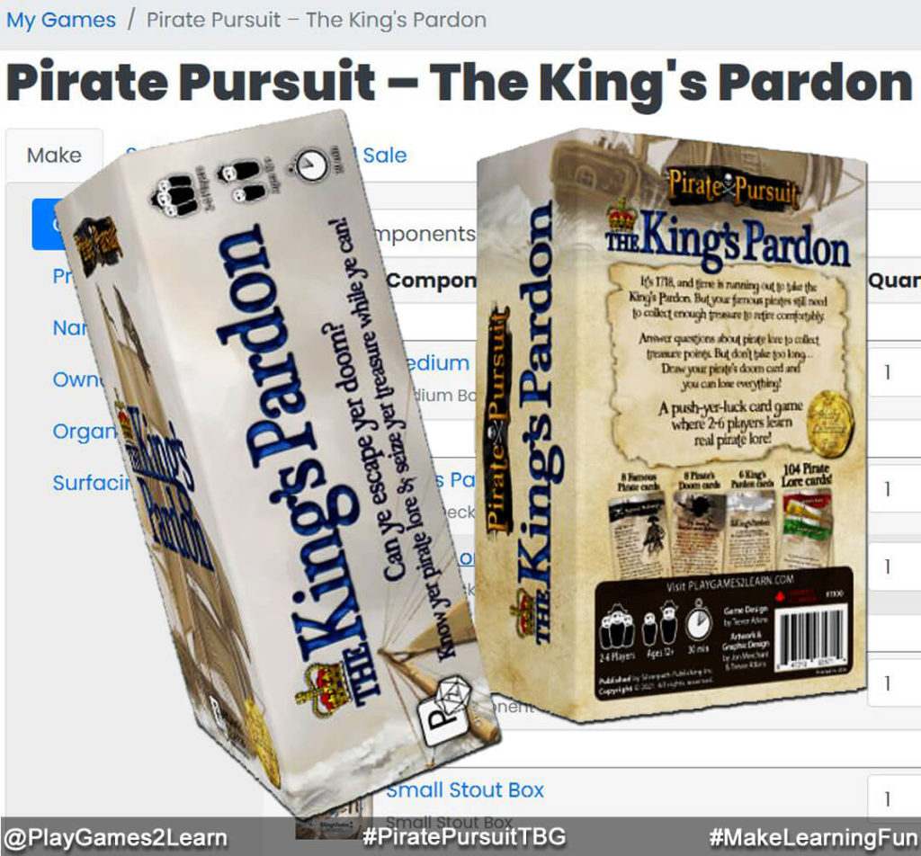 PlayGames2Learn.com - #PiratePursuitTBG - The King's Pardon - Box Done