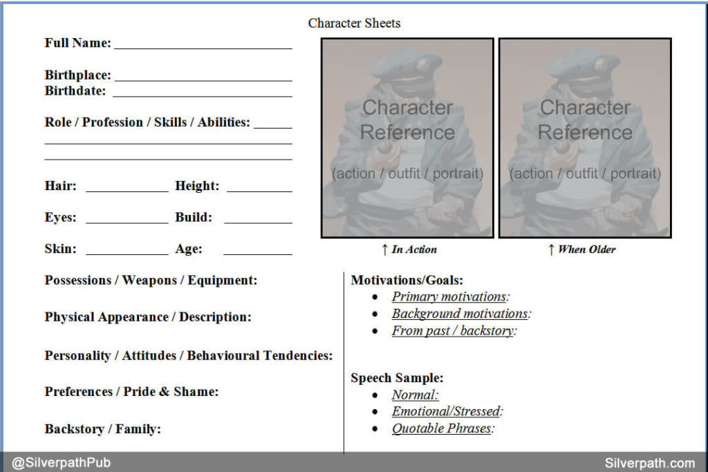 Silverpath.com - Character Sheet Template Example